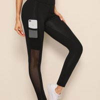 Contrast Mesh Pocket Side Leggings