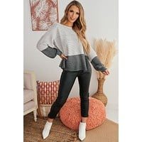 Shades Of Grey Ombre Ribbed Sweater (Grey Charcoal)