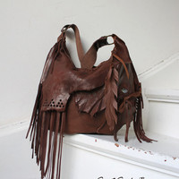 Distressed chestnut brown leather fringed hobo bag fringe artistan purse bohemian african jungle distressed raw leather festival free people