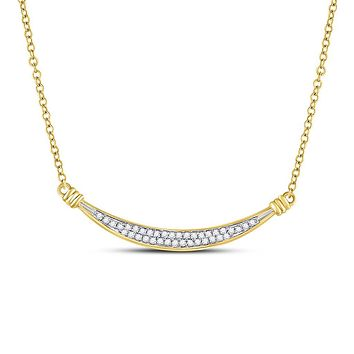 10k Yellow Gold Round Diamond Curved Bar Pendant Necklace 1/6 Cttw