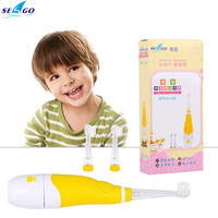 hot Smart Children Baby electric toothbrush Sonic vibration with LED light and 2 Replaceable Brush Heads for 0-4 Years Old Baby