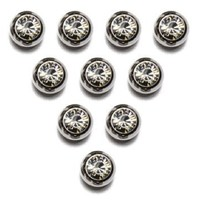 """Replacement Belly Navel Ring Top Ball WITH GEM 5mm 14g Silver 10pcs """"THE ORIGINAL"""" [Authentic]"""