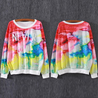 """MultiColor """"NEVER GIVE UP"""" Printed Sweatshirt"""