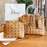 MCM Fashion New More Letter Leather Shopping Leisure Shoulder Bag Handbag Crossbody Bag Two Piece Suit Bag Brown
