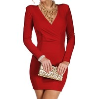 Red Long Sleeve Wrap Front Dress