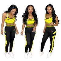 Champion Tide brand women's outdoor sports tight-fitting two-piece suit yellow
