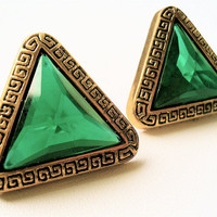 Vintage Inspired Stud Earrings in an Emerald Green with Intricate  Frame Detail