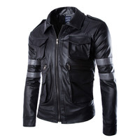 Hot BIOHAZARD Game Resident Evil 6 Leon Jacket Gentlemen Cavalier Men PU Leather Jacket Motorcycle Outerwear Man Jacket Man Coat