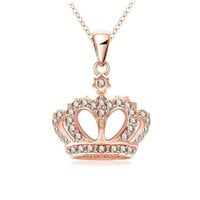 LZESHINE King's Crown Necklace Real Rose Gold Plated Crystal Pendant Necklace Genuine SWA Elements Chain Necklace NL0290-A