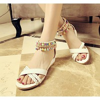 Beads Wedges Sandals Women Bohemia Beach Shoes Woman
