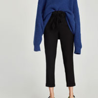 PLEATED TROUSERS WITH BELT DETAILS