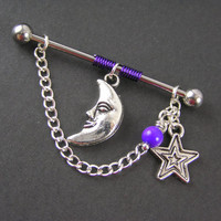 Mystical Silver Moon, Star & Purple Beaded Industrial Bar Barbell Scaffold Piercing 14G Cartilage Earring Piercing Jewelry Crescent Wiccan