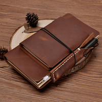 Handmade Refillable Leather Travelers Journals Pencil Case Set of Three, Notebook, Notepad