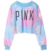 Voglee Women's Colorful Tie Dye and Pink Letters Print Midriff Crop Sweatshirt (M, Blue)