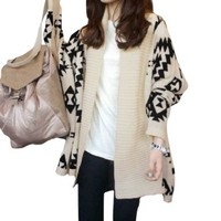 Lady Geometric Prints Stretchy Batwing Knitted Loose Cardigan Sweater