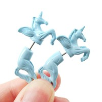 Fake Gauge Earrings: Mythical Unicorn Horse Animal Faux Plug Stud Earrings in Light Blue