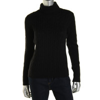 Charter Club Womens Cable Knit Turtleneck Pullover Sweater