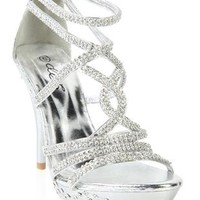 open toe  silver rhinestone and metallic high heel - debshops.com