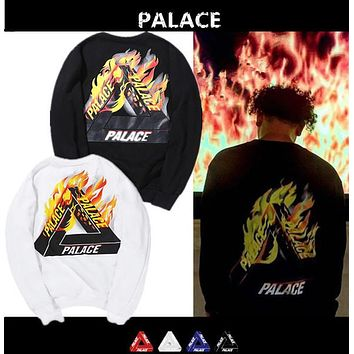 PALACE Skateboard Sweatshirts Men Women Flame Print Cotton High Quality Pullover Brand Clothing Hip Hop Hooded Sweatshirts Homme
