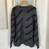 Balenciaga knitted letters men's and women's round neck sweater 1