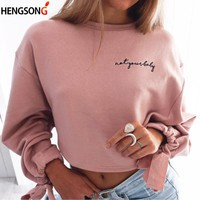 2018 Fashion Women Bowknot Long Sleeve Hoodies Round Neck Crop Tops White Pink Short Sweatshirts Spring Outfits