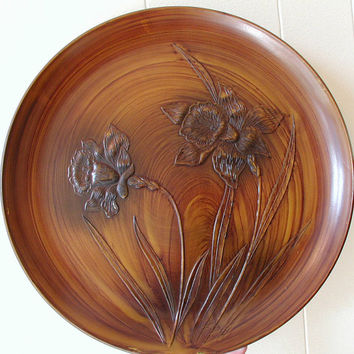 Daffodil Serving Tray - Vintage Faux Wood Server With Raised Flower Design