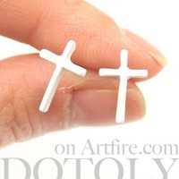 Small Simple Cross Shaped Stud Earrings in White