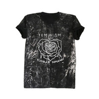 Feminist shirt washed t shirts womens rights shirt rose tee shirt grunge style clothing feminism back by popular demand
