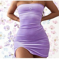 Hot style hot selling strapless sexy back show chest slit body skirt