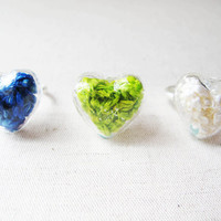 Dried Sorghum Ring, Glass Heart shape Ring, Pressed flower glass ring,Real plant jewelry, Love heart Ring,gift for her, Love heart Ring