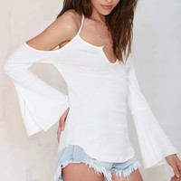 Wild Side Off-the-Shoulder Knit Top - White