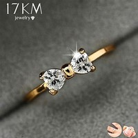 Austria Crystal Gold & Cubic Zirconia Bow Ring