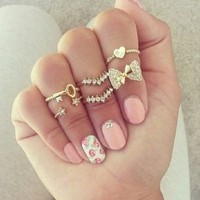 Artilady gold plated crystal midi 6pcs set stacking rings fashion lovely bowknot women ring jewelry-in Rings from Jewelry on Aliexpress.com | Alibaba Group