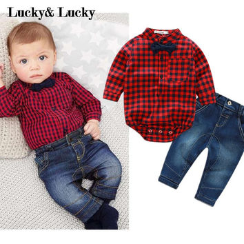 red plaid rompers shirts+jeans baby boys clothes bebe clothing set