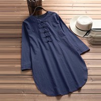 Plus Size 5XL Womens Tops and Blouses 2018 Harajuku Linen Vintage Long Sleeve Long Shirts Tunic Ladies Top Woman Clothes