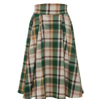 Laura Byrnes California Long Jun Skirt in Green and Tan Plaid