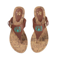 Brown Monogrammed Sandals -Size 7