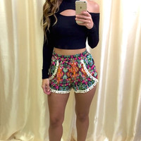 Orange Flower Pom Pom Shorts