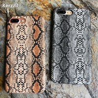 Kerzzil Cool Snake Texture Phone Cases For iPhone 6 6s 8 7 Plus XS Max XR Case PU Leather Back Cover For iPhone X case 8 Fundas