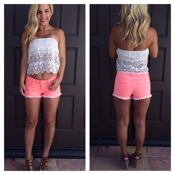 Neon Coral Denim Cut-Off Shorts