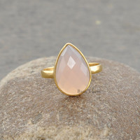 Pink Chalcedony Pear 10x14mm Shape Micron Gold Plated 925 Sterling Silver Gemstone Ring - #1066