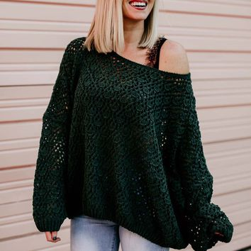 Time for Coffee Emerald Open Knit Sweater