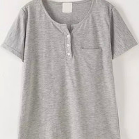 Grey Short Sleeve Bottons Down Round Neckline Shirt