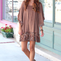 Suede + Leopard Ruffle Dress {Mocha}