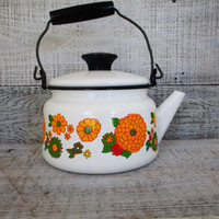 Teapot Mid Century White Enamel Teapot with Black Resin and Wire Handle Vintage Enamel Teapot with Flowers  Retro Kitchen Shabby and Chic
