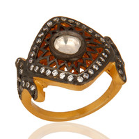 Beautiful 14K Gold Plated Sterling Silver Vintage Style CZ Designer Women Ring