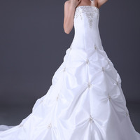 White Strapless Beaded Ruched Taffeta Wedding Dress
