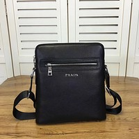 PRADA MEN CASUAL LEATHER INCLINED SHOULDER BAG