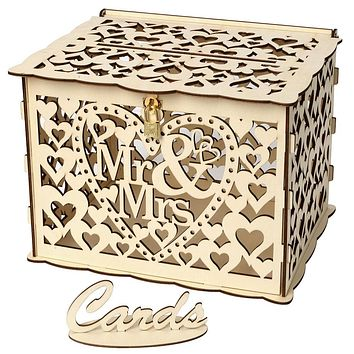 Wedding Card Boxes Wooden Box Wedding Supplies DIY Couple Deer Bird Flower Pattern Grid Business Card Wooden Box
