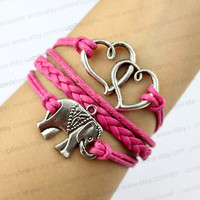 Soulmate is charm, the elephant charm bracelet, bright pink woven leather, wax rope, personalized charm bracelet